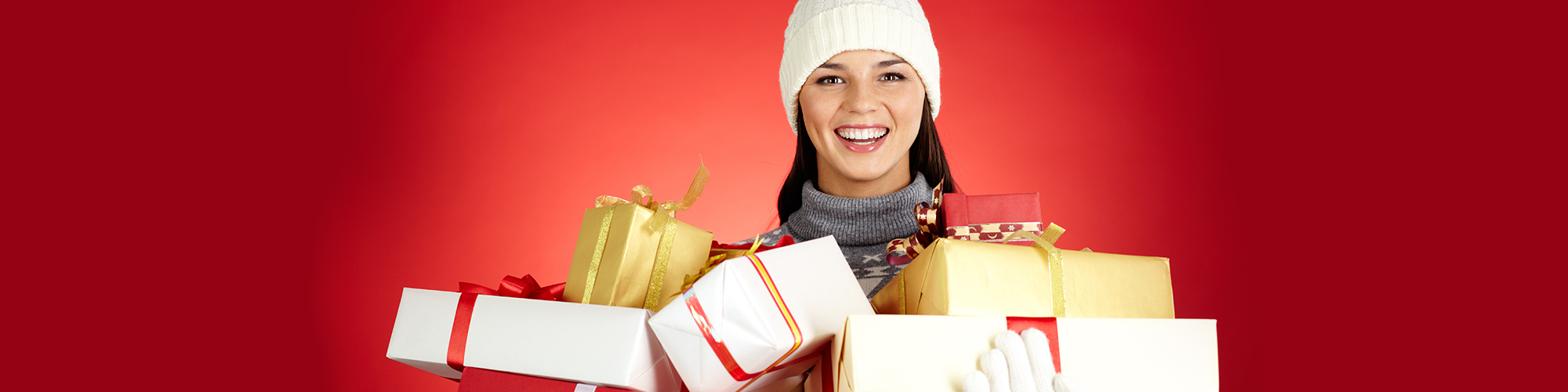 Woman carrying gifts